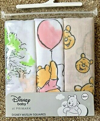 3 x DISNEY WINNIE THE POOH BABY MUSLIN SQUARES BURP CLOTH BIB UNISEX NEW PRIMARK