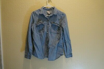 Women's Faded Blue Jean Look Long Sleeve Button Front Shirt By Old Navy Size Ps