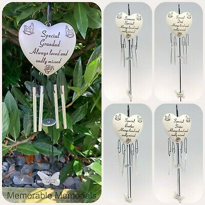 Heart Memorial Wind Chime Tribute Plaque Ornament Butterfly Flower Graveside