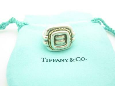 Tiffany & Co. Sterling Silver 18k Gold Rope Square Buckle Ring Size 6 1/2