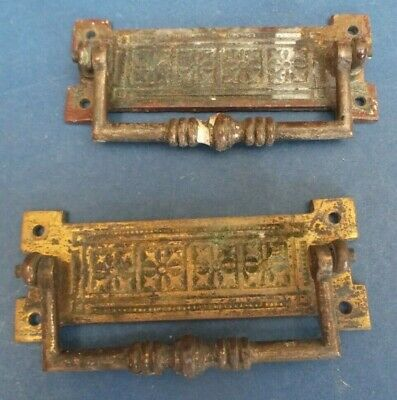 Pair Edwardian Brass Drop down drawer handle impressed decoration 10cm long