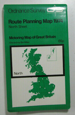 1974 Old OS Ordnance Survey One Inch to Ten Miles Route Planning Map North Sheet