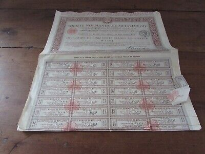 Lot de 6 Acciones de 500 Francs Postal-Sociedad Normando Metalurgia 1917