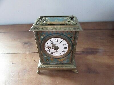 Antique Pendulum Table Clock Travelling Napoleon III Sheet Metal Painted