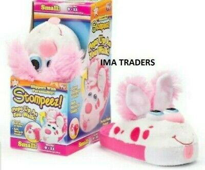 Stompeez Pink Perky Puppy Slippers Small/Large UK 10-12/3-5 Pop-up Ears Gift kid