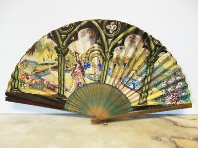 hübscher antiker Fächer-handbemalt-Spain-1900-beautiful antique handpainted fan
