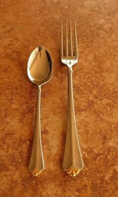 Oneida Cube Golden Julliard Stainless Dinner Fork & Teaspoon