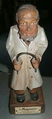 Antique 1940's Occupied Germany MAGENARZT Doctor Hand Carved Wood Statue!