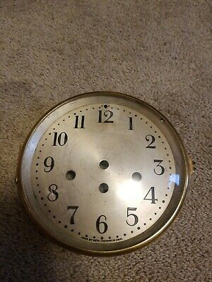 """Antique 6"""" Silvered Seth Thomas Westminster Clock Dial with Bezel and Glass"""