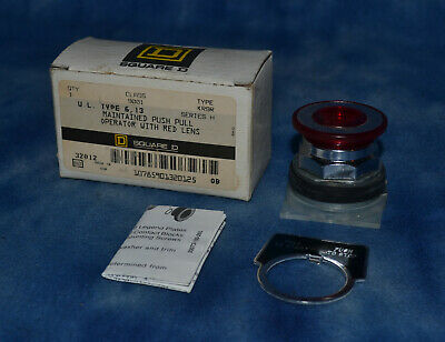Square D 9001 KR9R Maintained Push Pull Operator with Red Lens Series H