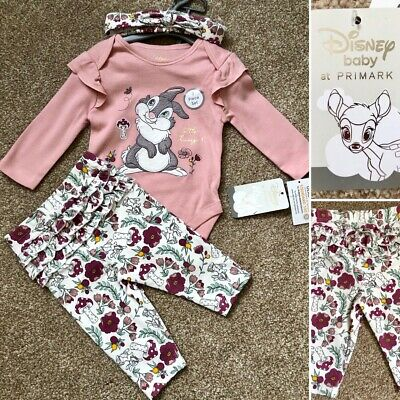 Disney BAMBI THUMPER Baby Girls 3-Piece Outfit Set Clothes 3-6 Months - Primark
