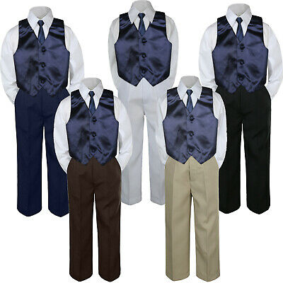 12-18 months L: 4pc Formal Baby Teen Boy Coral Red Vest Necktie Silver Pants Suits S-7