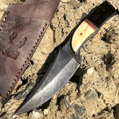 """8.5"""" Damascus Steel Blade Fixed Hunting Skinner Knife Full Tang With Horn Handle"""