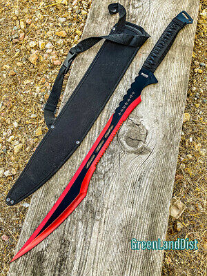 """27"""" Red Stainless 2 Tone Blade Sword with Sheath"""