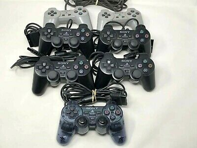 Official Sony PlayStation PS2 PS1 2 1 Controllers Dualshock Lot of 7 OEM   P/R