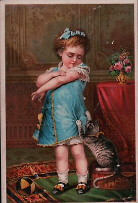 Cat Scratches Girl, Jayne's Tonic Vermifuge Victorian Trade Card
