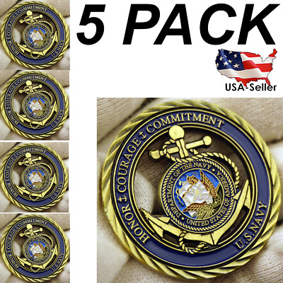 5 Pack US Navy Coin, Core Values Challenge Collectible Coin, United States Honor