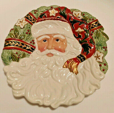Fitz & Floyd- Christmas Tidings Hanging Cookie Plate with Santa