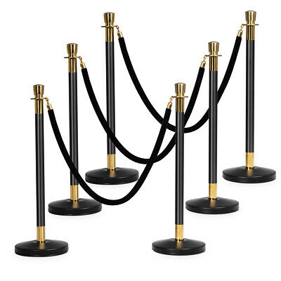 6Pcs Stanchion Posts Crowd Control Barrier Stainless Pole Retractable 3 Ropes