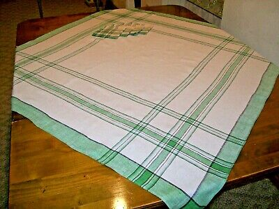 Vintage Green and White Plaid Tablecloth and Napkin Set (A-1)