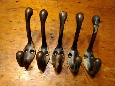 5 Antique Double Hook Cast Iron Wall Coat Hat Closet Hall Tree Japanned - 919