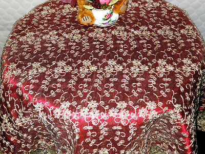 """Victoria's Garden *Nwt* Burgundy Tea-Stained Lace Round Tablecloth 33"""" Diameter"""