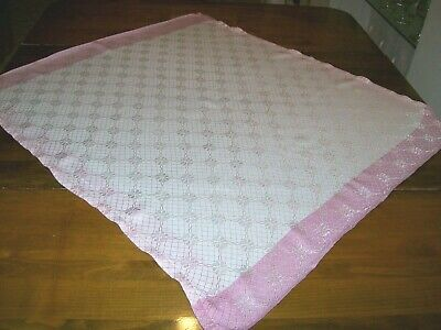 Vintage Damask Tablecloth-White with Pink Edges (A-2)