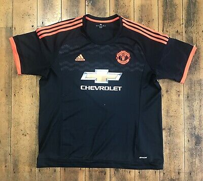 Adidas MANCHESTER UNITED 2015/16 3rd Away Football Shirt Jersey Black/Red 2XL
