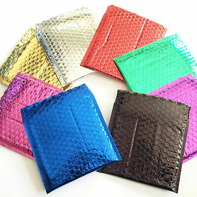 Bubble Lined Metallic Foil Padded Mailing Envelopes Various Colours Bags K5B4