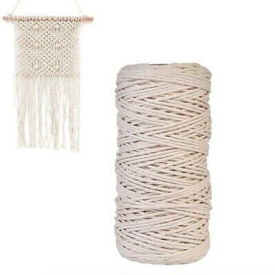 NEW 100m Natural Beige Cotton Twisted Cord Rope Crafts DIY Macrame String 1 Roll
