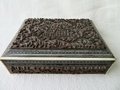 Antique Anglo Indian Carved & Inlaid Sandalwood Box
