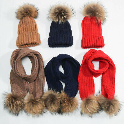 Baby Girls Real Raccoon Fur Double Pom Hat Scarves Set Winter Warm Beanie Cap