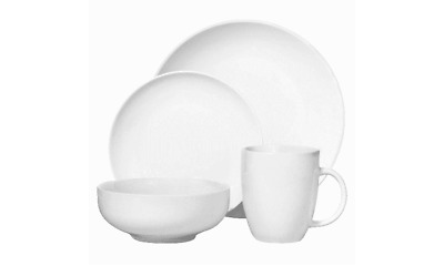 Porcelain 16pc Coupe Dinnerware Set White by Threshold Brand New