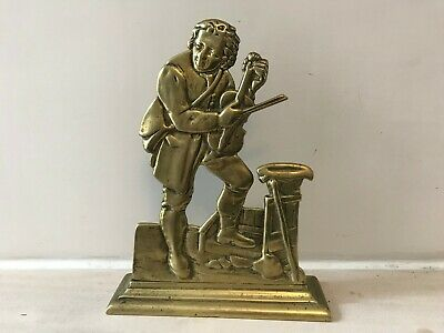 Antique? Brass Door Stopper Man Playing With Violin 1 kg