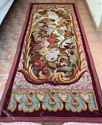Antique French Aubusson Tapestry 19th -Century Verdure 153 X 356 Cm