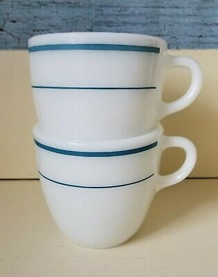 Set of 2 Vintage Pyrex Tableware 723 Milk Glass Cups Blue Stripes Coffee Mugs