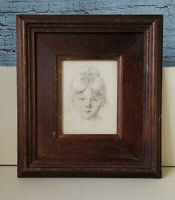 Vintage Portrait Print of Little Girl Drower Rene David on Silk Made in Italy