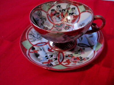 Asian Style Cup & Saucer Set Decor Footed Boned China Teacup red gold people