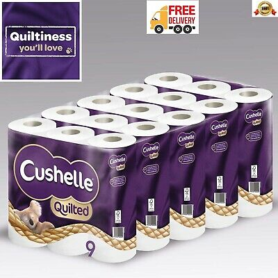 Cushelle Quilted Toilet Roll Tissue Paper Extra Softness 3Ply - Pack of 45 Roll