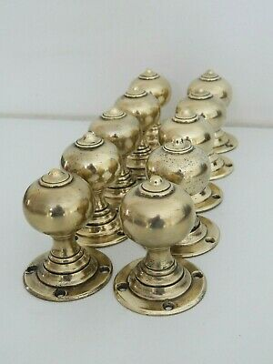 5 x pairs of Original Edwardian solid Brass Cottage Door Knobs c1906