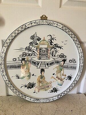 Vintage Chinese Asian Mother Of Pearl Wall Art  ( 19 1/2 * 19 1/2 Round )