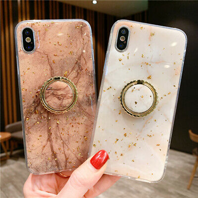 Silicon Rubber Case Cover With Ring Stand Holder For iPhone X XS 6 6S 7 8 Plus