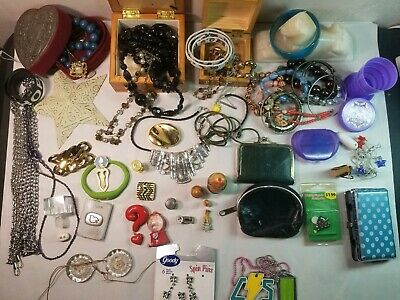 Misc. Junk Drawer Lot. Jewelry, jewelry boxes, vtg coin purses, etc. #R71