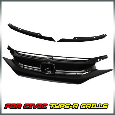 For 2016 2017 2018 Civic 10th Glossy Black Front Upper Hood Mesh Grille OE Style
