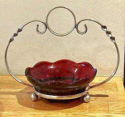 Silver Plate And Cranberry Glass Bonbon Dish