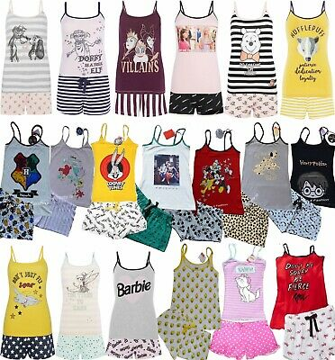 Ladies DISNEY Cami Pyjamas Women's Vest Top Shorts Girls Summer PJ's Primark