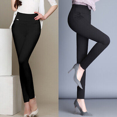 Women Stretch Pencil Pants High Waist Skinny Jeggings Casual Slim Trousers