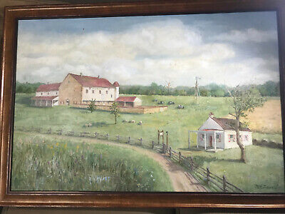 """Large """"Farm, Pasture With Sheep And Landscape Scene"""" Oil Painting -Signed/Framed"""