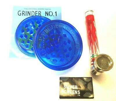 GRINDER 60mm Magnetic 2 PART Sharks Teeth Weeds Tobacco Crusher with Glass Pipe