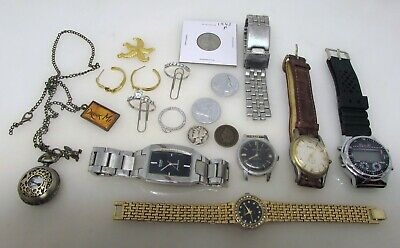 Junk Drawer Lot Vintage Jewelry Watches Coins Etc